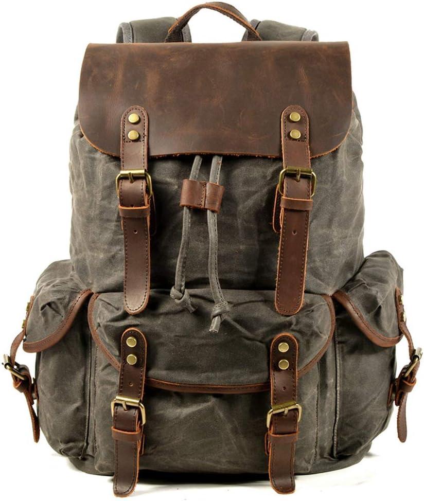 WUDON Travel Backpack for Men & Women, Genuine Leather-Waxed Canvas Shoulder Rucksack, Vintage Style W Laptop Space & Multiple Pockets, Large Bag For Travel, School, University & More (Grey)