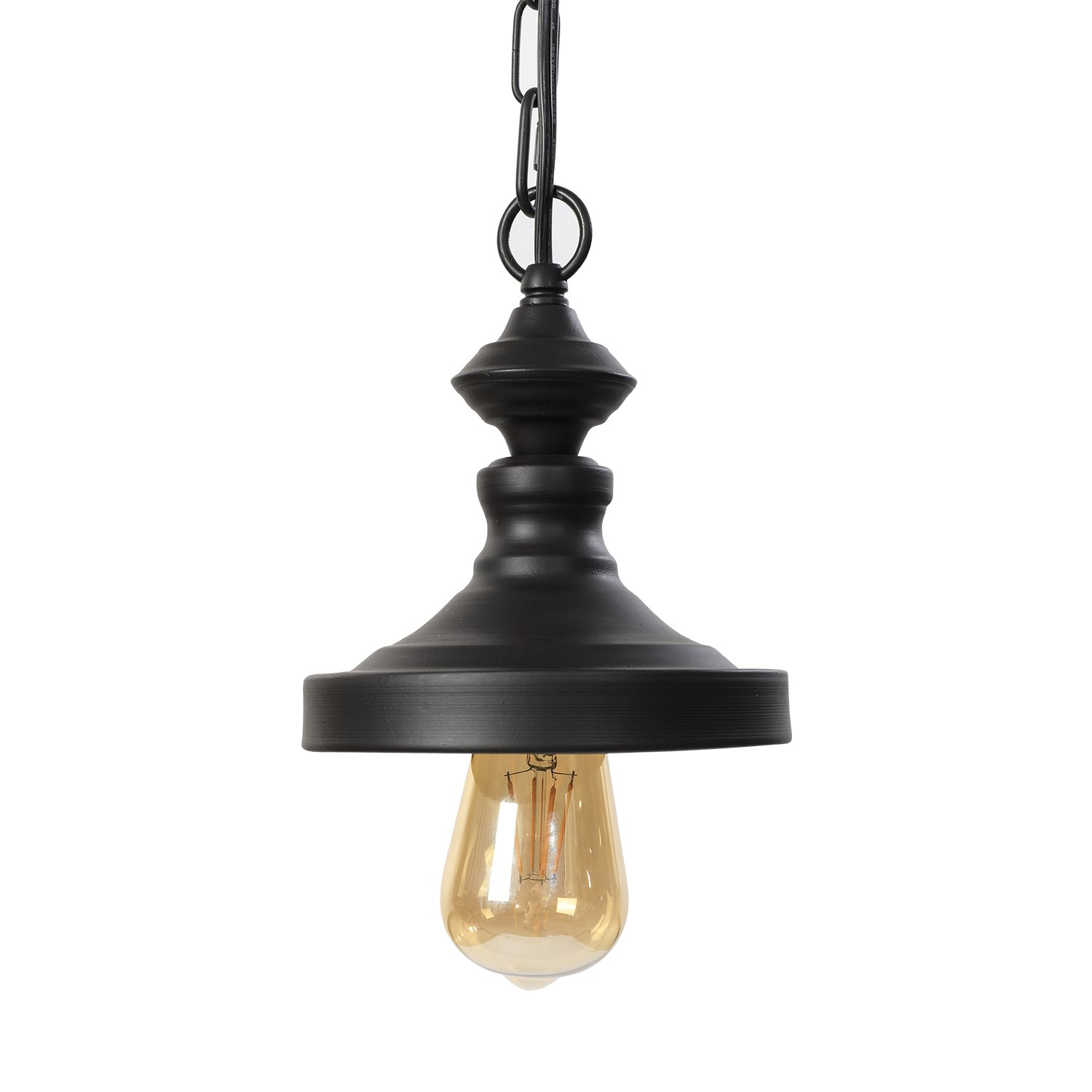 Lit path pendant light hanging lantern lighting fixture for kitchen and dining room e26 e27 medium base metal construction with bronze finish