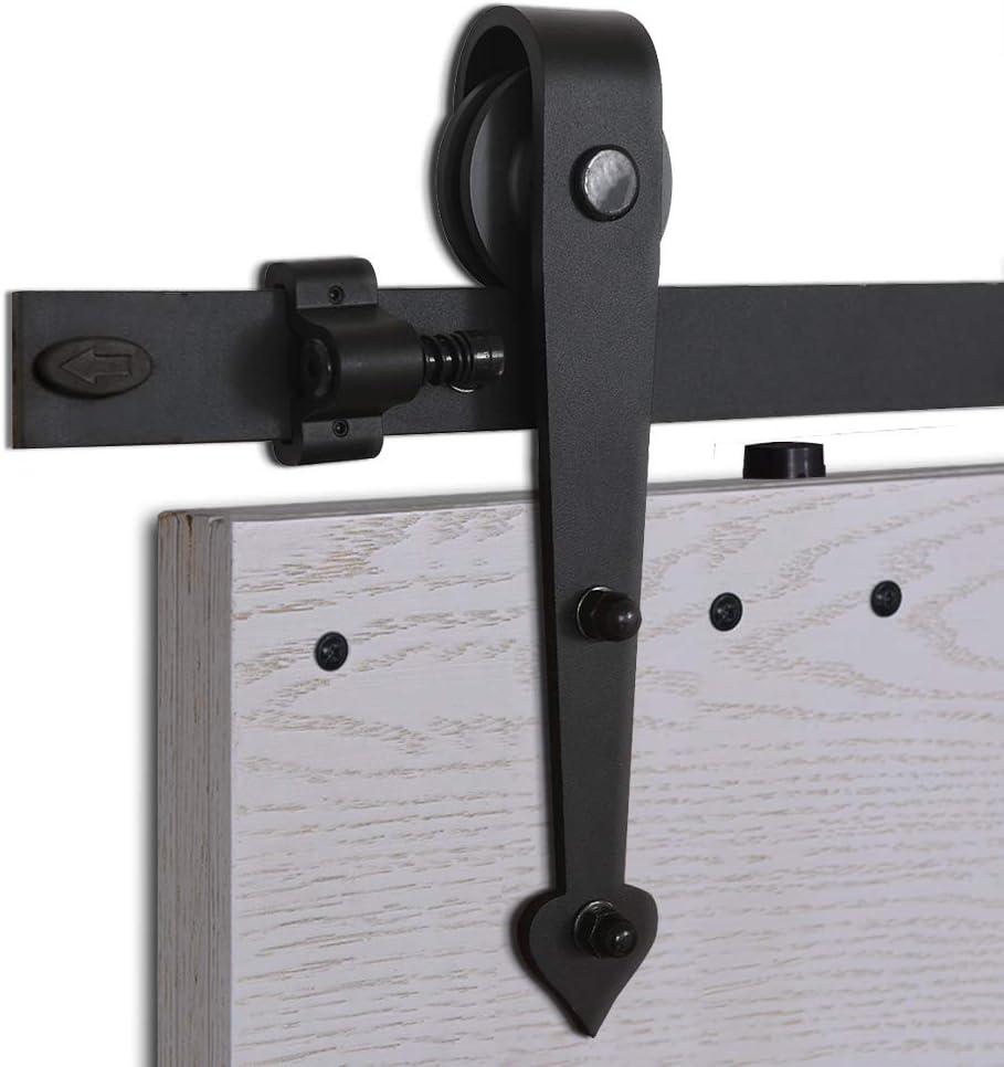 CCJH 5FT-152.6cm Herraje para Puertas Kit de Accesorios para Puerta Correderas Juego de Armarios de Acero Corredizos para Puertas Corredera Riel Rueda para Puerta de Madera Individual