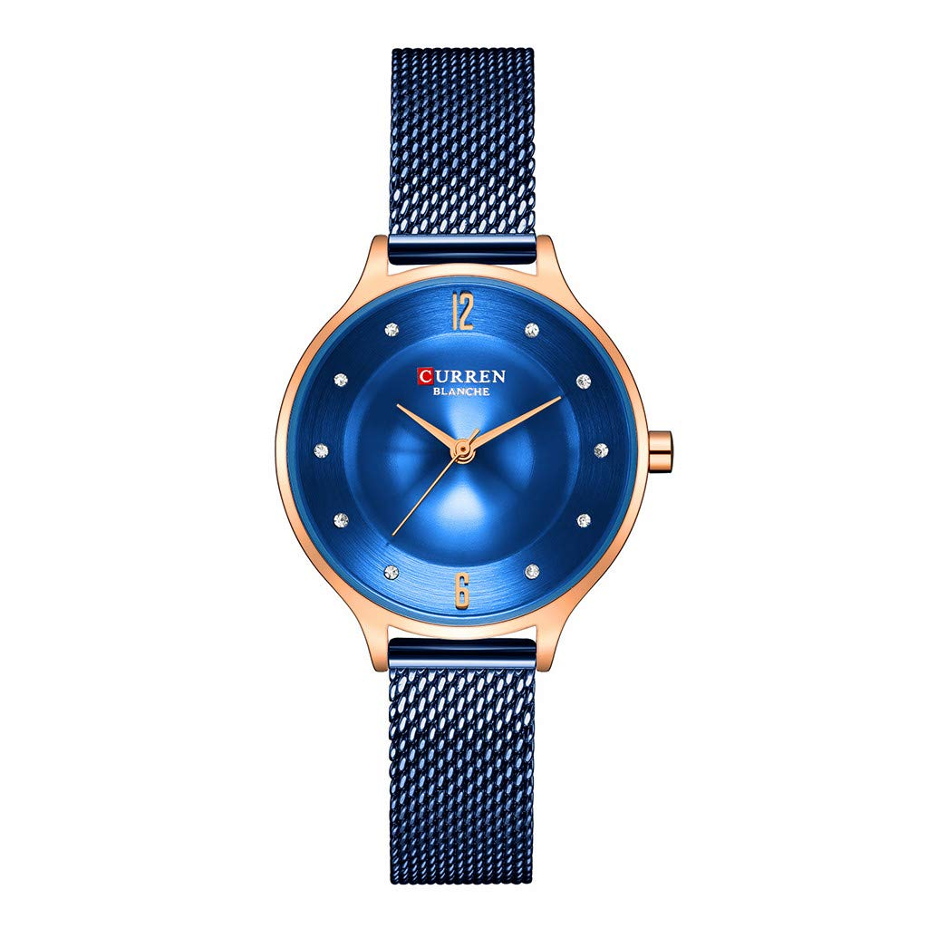Women Watches for Sale,Small Dial Mesh With Waterproof Water Diamond British Super Thin Female Watch(F)
