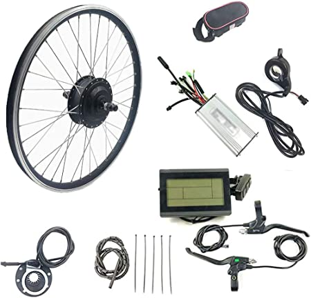 """ZLM Kit De Conversión De Motor De Bicicleta Eléctrica De Rueda Delantera De 36V 500W Kit De Conversión De Bicicleta Eléctrica con Pantalla De Cristal Líquido LCD3,36v500w Front Wheel,28"""": Amazon.es: Hogar"""
