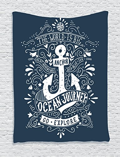 Ambesonne Anchor Decor Collection  Vintage Label With An Anchor And Lettering The World Is Big Go Explore Ocean Journey Image  Bedroom Living Room Dorm Wall Hanging Tapestry  Navy Blue