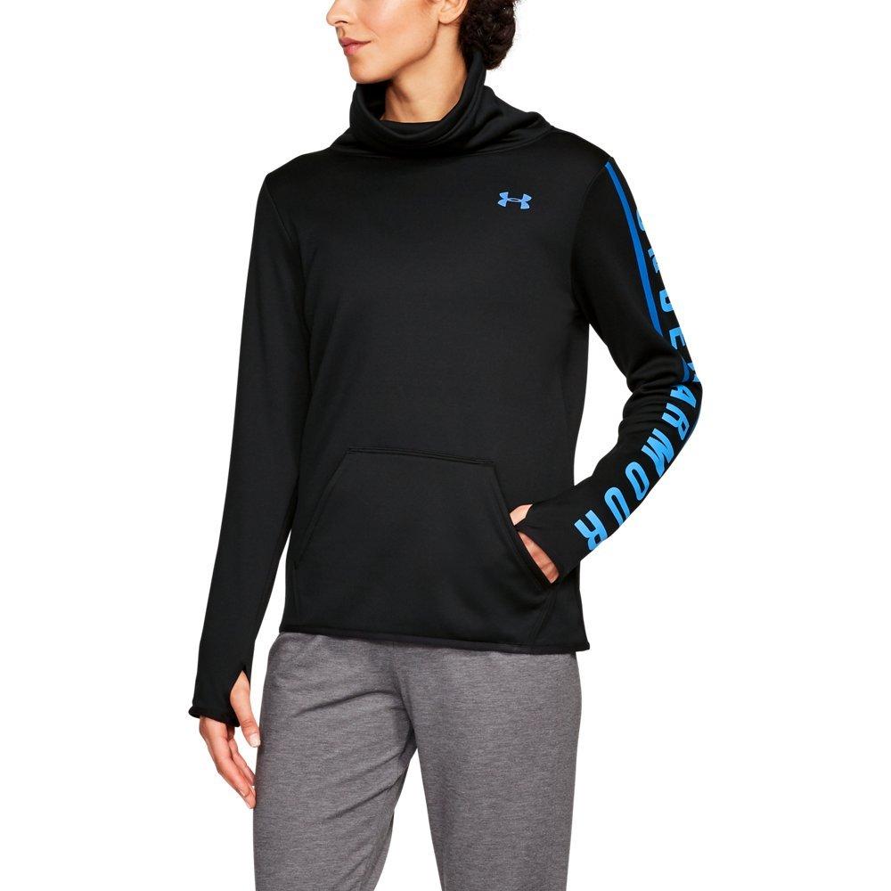 Under Armour Women's Armour Fleece Graphic Pullover, Black (001)/Mako Blue, Small