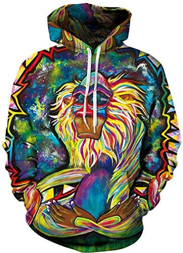AMOMA Unisex Realistic 3D Digital Print Pullover Hoodie Hooded Sweatshirt(XX-Large/XXX-Large,Monkey King)