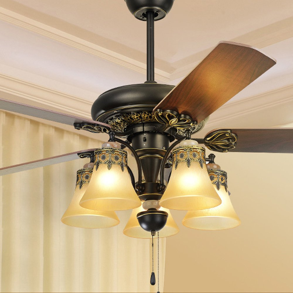 RainierLight Antique Ceiling Fan 5 Light 5 Glass Lampshade Remote Control Chandelier Lighting Fixture 52-Inch(Brown)