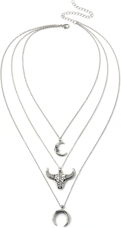 Epinki Collar Multicapa para Mujer 3 Capa Plata Luna Toro Cabeza Colgante 38+10CM-con Cadena Ajustable