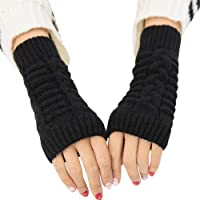 Bullidea Women Lady Winter Knitted Long Fingerless Gloves Solid Color Creative and Elegant Design for Daily Life Use Keep Warm in Cold Weather(Black)