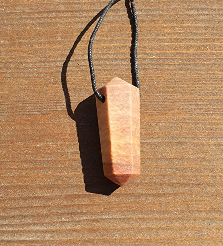 Vogel Crystal Pendant - [A&S Crystals] PEACH MOONSTONE Crystal Point Pendant Witth Adjustable Cord Stone Natural Gemstone