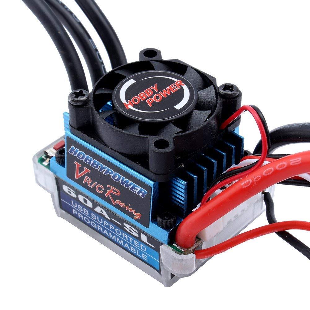 programmabile Motore sensorless brushless ESC 12T 3300 KV per auto 1//10 1//12 RC 60 A ZJchao