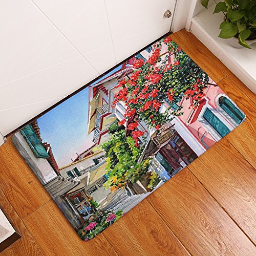 YJBear Thin Red Flower Tree Villa Print Rectangle Doormat Entry Mat Indoor Floor Mat Home Decor Carpet Kitchen Floor Runner 16