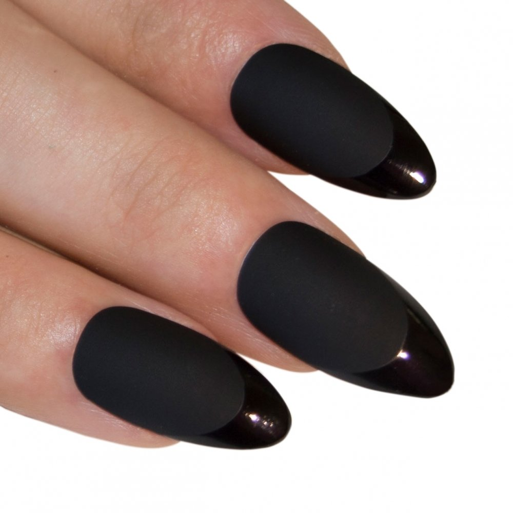 Amazon.com : Bling Art Almond False Nails Fake Stiletto Matte Red ...