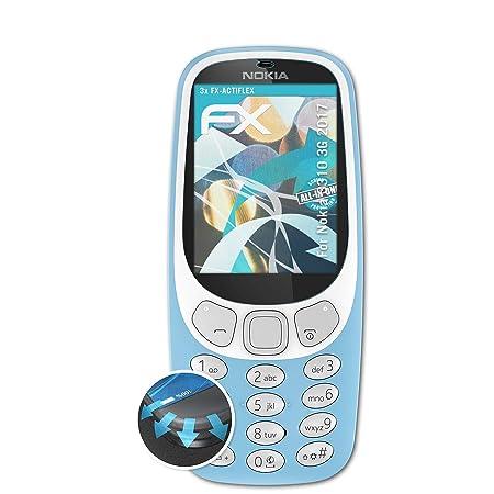 atFolix Schutzfolie passend für Nokia 3310 3G 2017 Folie, ultraklare und Flexible FX Displayschutzfolie (3X)