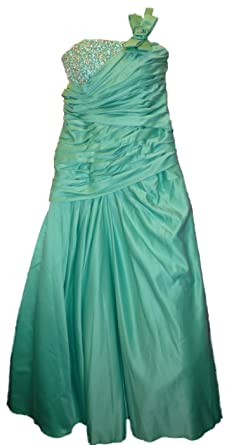 Sale 80% Off Amanda Wyatt DQ 2165 Aqua Green Satin Prom Dress UK16 rrp£