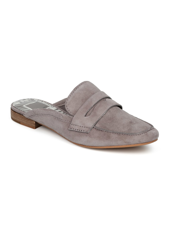Dolce Vita Cybil Square Moc Toe Loafer Mule Slide HC56 - Smoke Suede (Size: 10)