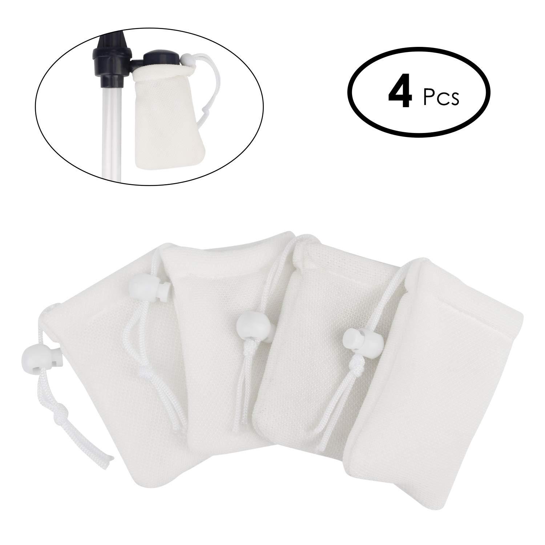 Bedee Fish Tank Cleaner filtre Sacs, sacs de filtres de rechange Lot de 4, durable, résistant aux déchirures de filtration pour petites particules, souple, ajustement de la saleté sous l'eau pour nettoyeur de gravier d'aquarium à piles