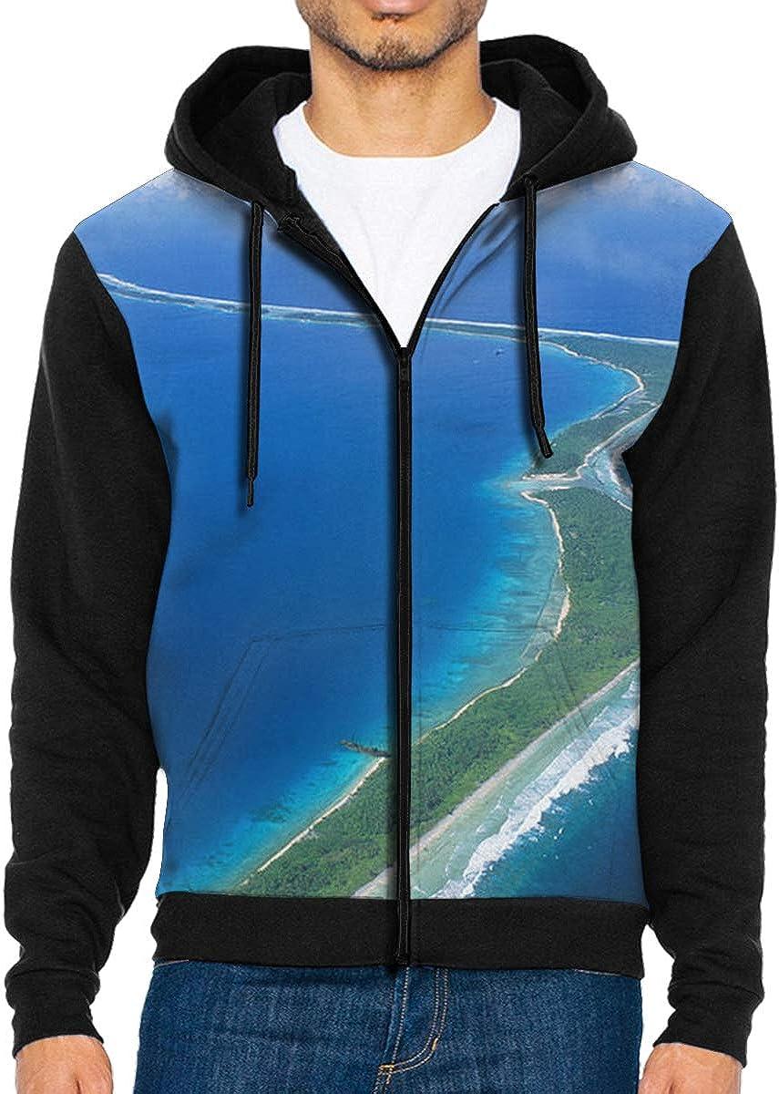 Jaluit Atoll and Lagoon Mens Full-Zip Up Hoodie Jacket Pullover Sweatshirt
