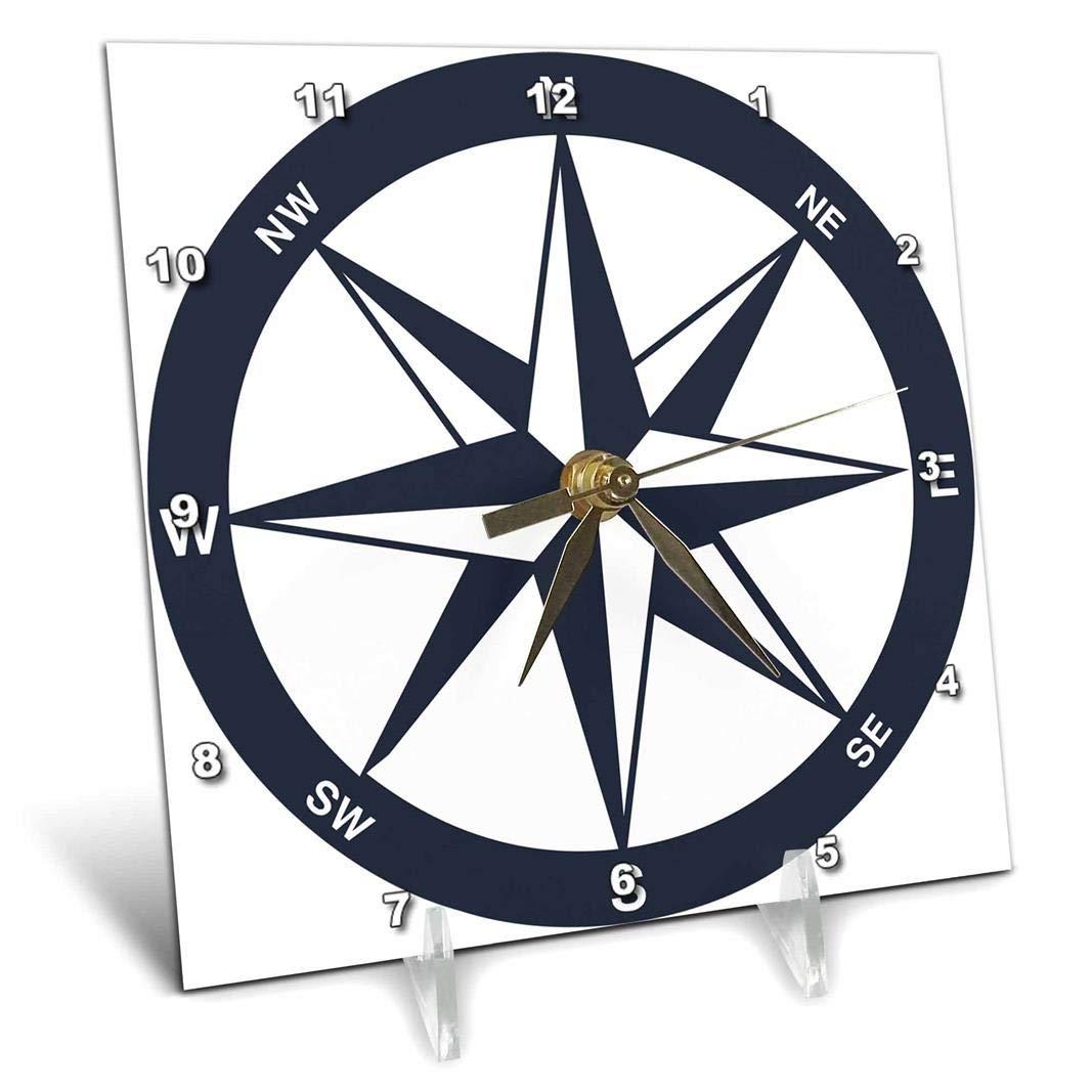 3dRose dc/_213841/_1 Blue and White Nautical Compass Desk Clock 6 x 6