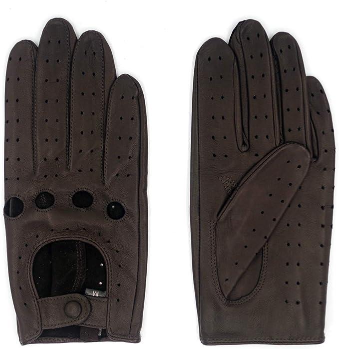Harssidanzar Guanti da guida in pelle a mezze dita senza dita da uomo Aggiornamento sfoderato in pelle di agnello GM032EU