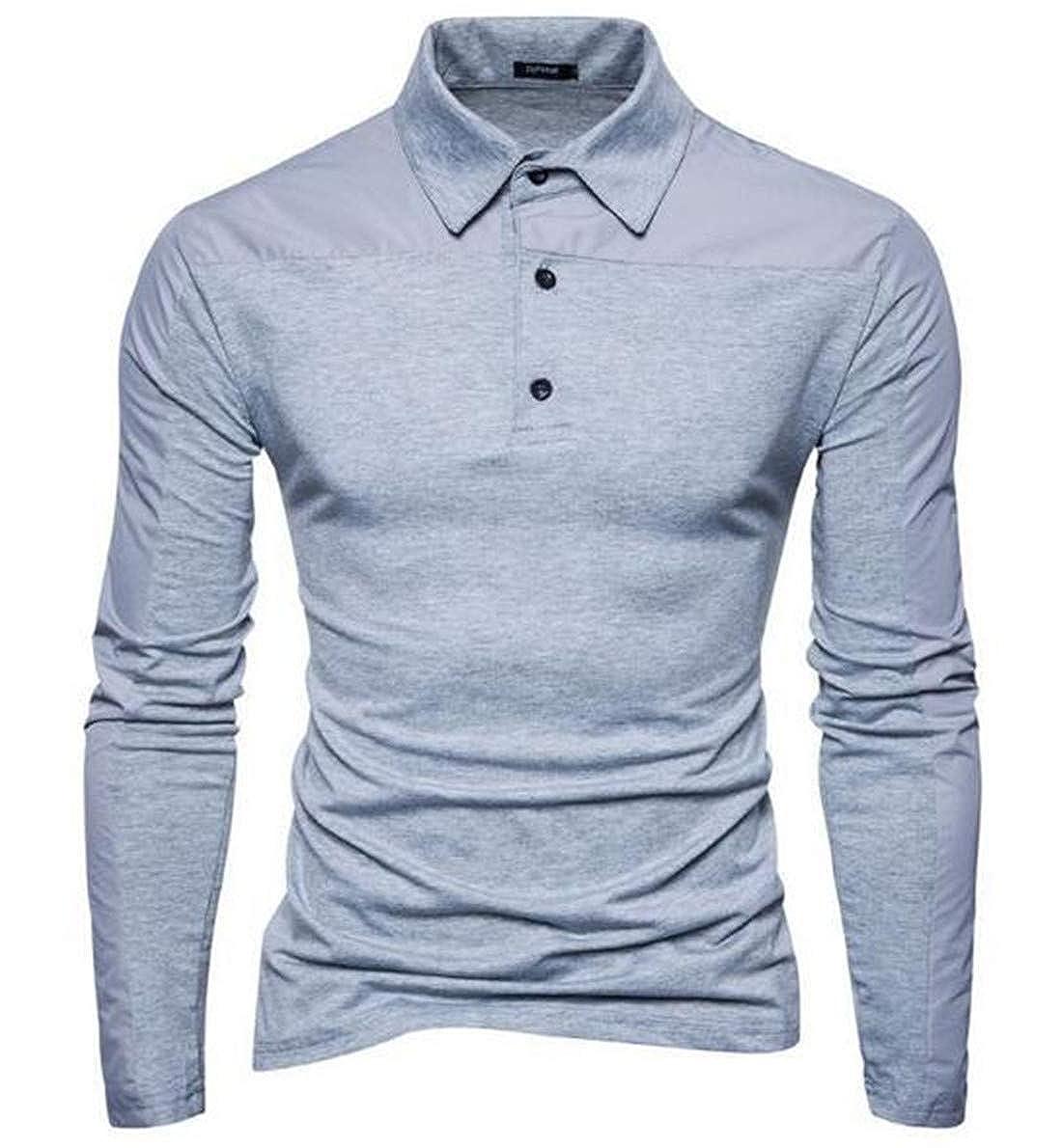 KLJR Men Long Sleeve Classic Business Slim Fit Cotton Polo T Shirts