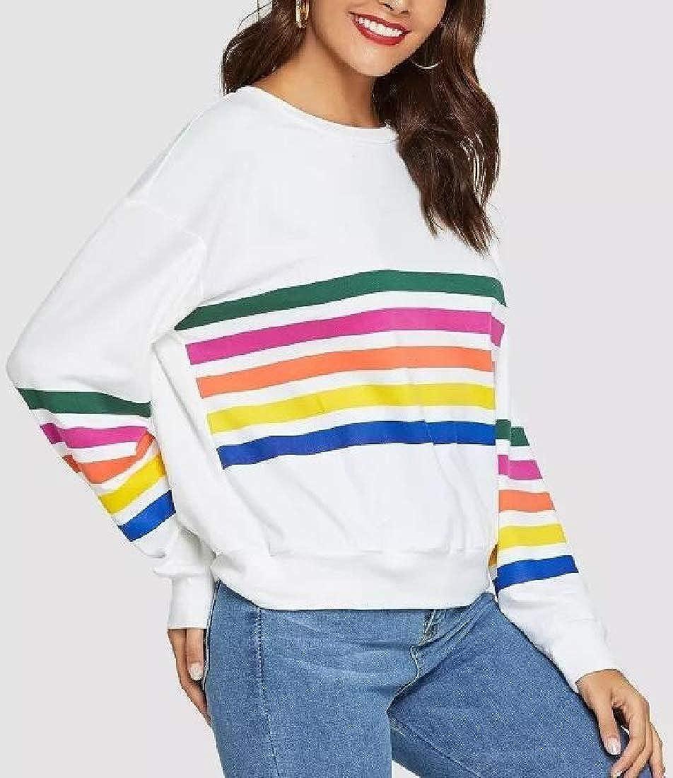 Joe Wenko Women Fit Striped Printed Pullover Long Sleeve Sweatshirts