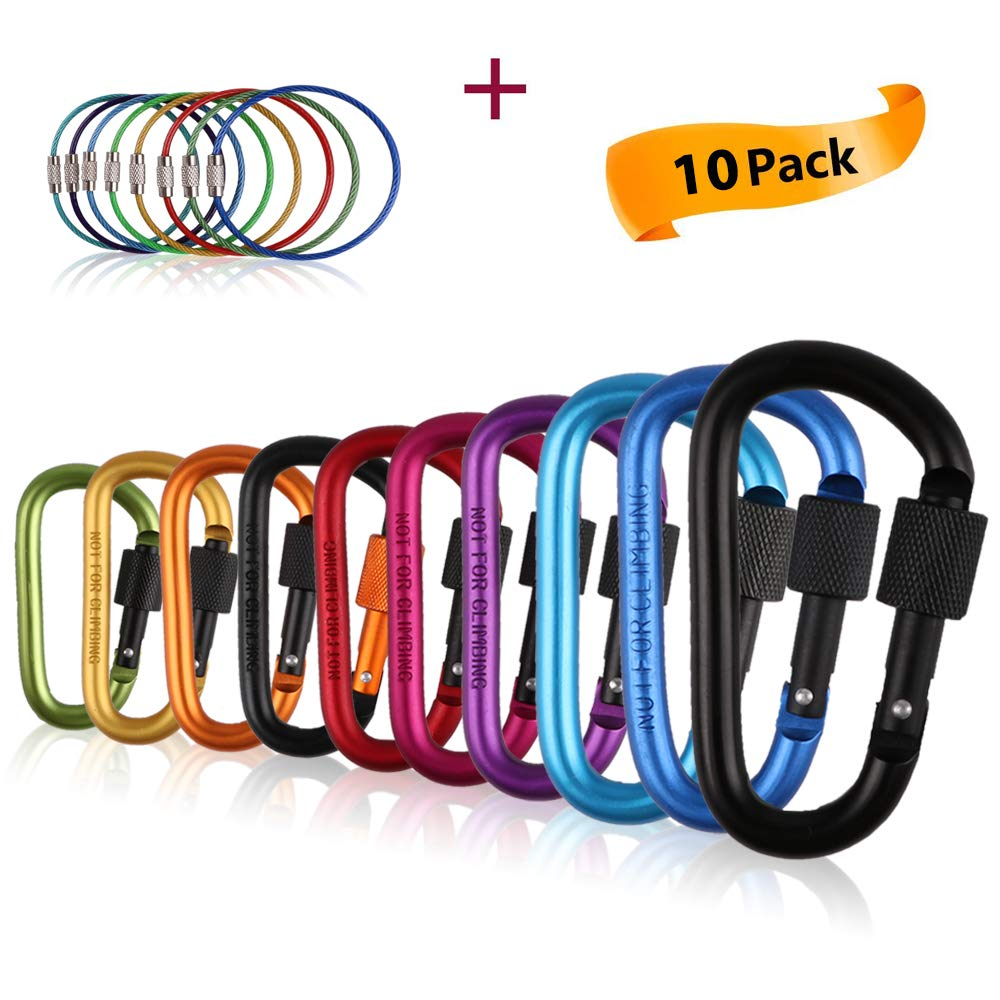 Hootracker 10PCS Aluminum Locking Carabiner Clips D-ring Key 8cm + 10PCS Wire Keychains Cable for Home, RV, Outdoor, Camping, Hiking, Traveling, Fishing, Backpack