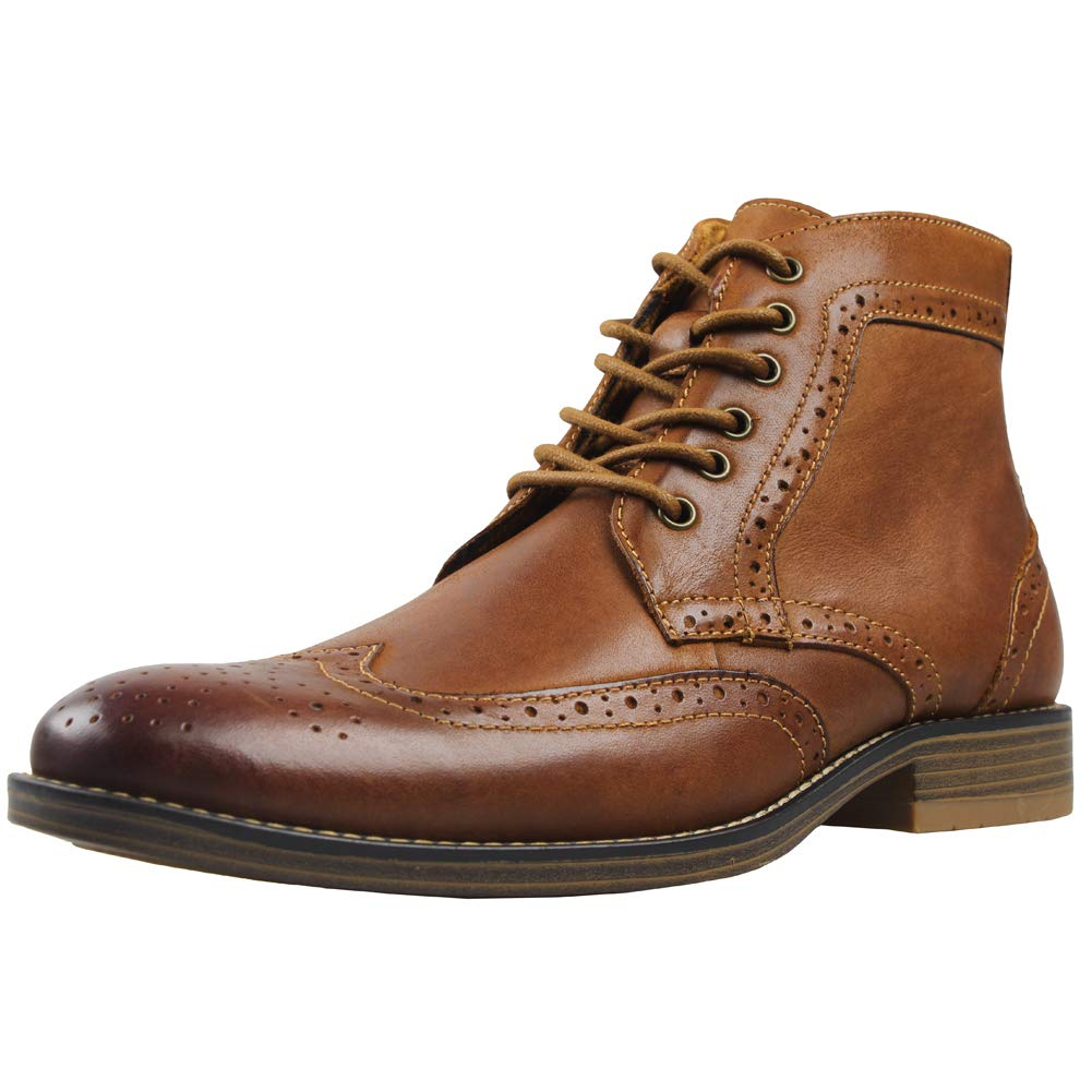 Kunsto Men's Leather Classic Brogue Boots Brown US Size 11 by Kunsto