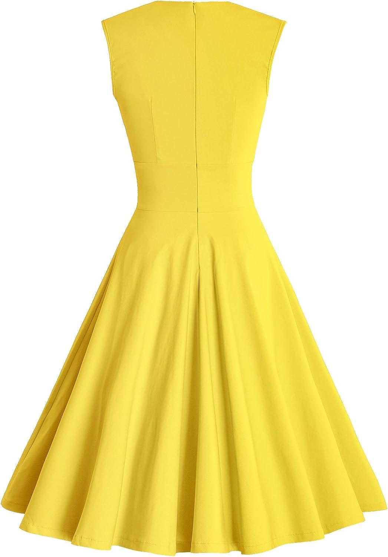 MUXXN Damen Retro 16er V-Ausschnitt Brautjungfer Party Swing Kleid