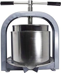 Varomorus Stainless Steel Wine Fruit Press for Apple, Grape, Berries, Honey, Manual Crusher Juice Maker (10L / 2.6 Gal)
