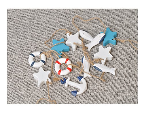 Christmas Hanging Ornament Set (Mediterranean Nautical Fish Net Accessory - Anchor, Shell, Starfish, Fish, Life Ring Buoy Hangings Decorations 10 Pcs Set)