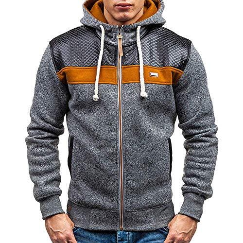 Men's Autumn Winter Fleece Cardigan Hooded Fashion Warm Sweater Coat(Dark Gray-X-Large)