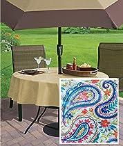 "Hanson Paisley Boho Print Indoor/Outdoor Flannel Backed Vinyl Tablecloth, 70"" Zippered Umbrella Round"