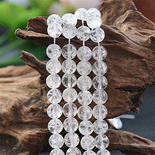 Grade AA Natural Clear Quartz Crackle Beads 6mm-16mm Smooth Polished Round 15 Inch Strand CQ05 (8mm)