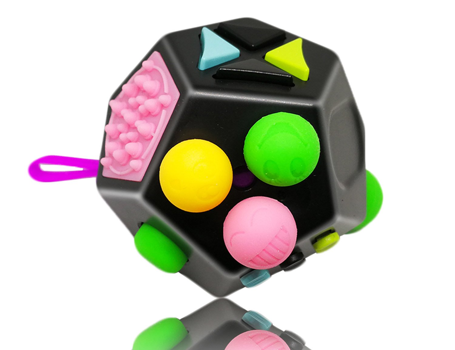 Fidget Cube 12 Sides Dodecagon Toy Stress and Anxiety Relief Relax for Children and Adults ADD/ADHD/OCD and Autisme Focus Distraction (Black& MixColor) yiiyaa DGC2257