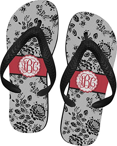Price comparison product image Black Lace Flip Flops - Medium (Personalized)