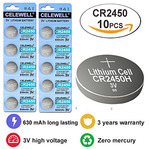 CR2450 3 Years Warranty LED Candles Remote 3V Lithium Key Fob Battery CELEWELL Brand 10 Count Coin Button Cell (3v Lithium Alarm)
