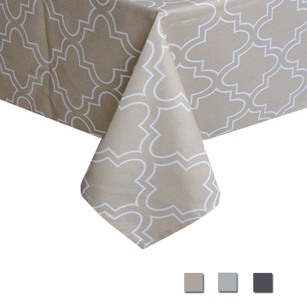 Eforcurtain Modern Geometric Floral Pattern Tablecloth Water Repellent Fabric Table Cover Home Decor for Everyday Use, 60 Inch By 84 Inch, Khaki and White