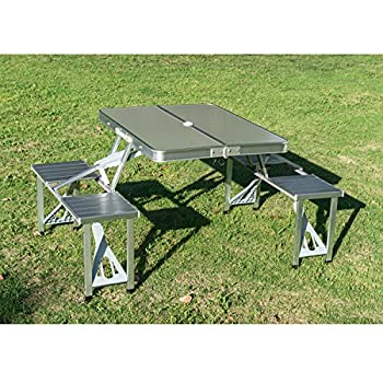 Outsunny Outdoor Aluminum Portable Folding Camp Suitcase Picnic Table with 4 Seats, Silver