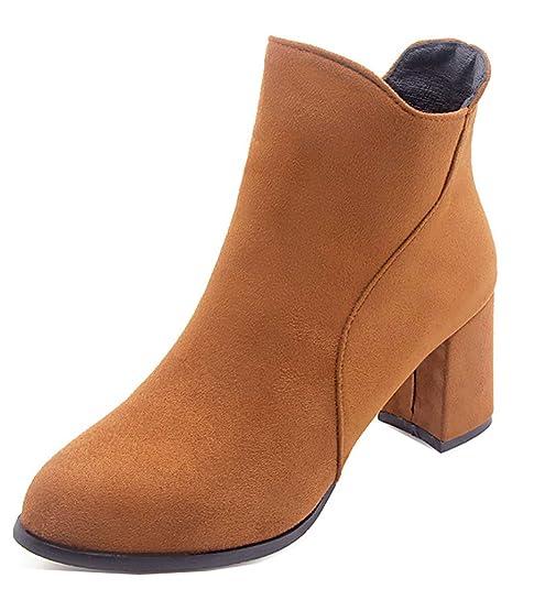 Easemax Femme Classique Bout Rond Chaussure Montante Talon Bloc Bottines  Brun 32 EU 9bd6b96fbe31
