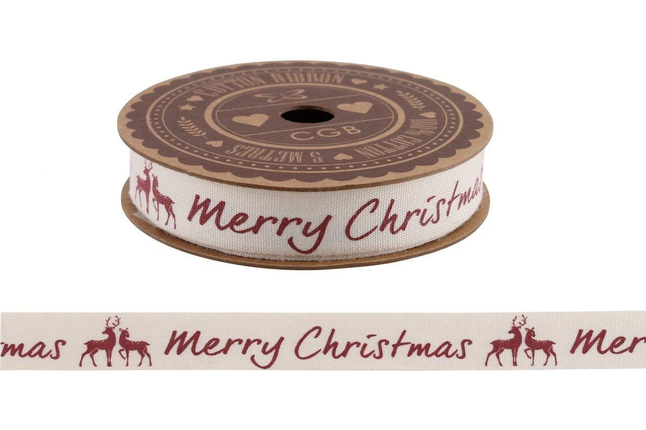 5m Reels of Vintage Cotton Christmas Ribbon Christmas Shabby Chic Gift Wrap Ribbon Decorations (Red Merry Christmas 5m) cgb