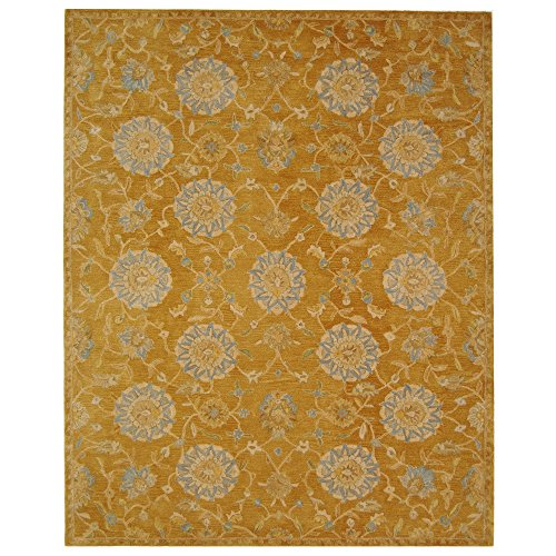 Safavieh Anatolia Collection AN537C Handmade Traditional Oriental Gold and Blue Wool Area Rug (8' x 10') ()