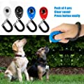 Dog Clicker for Training with Wrist Strap Pack of 4 Pcs New Upgraded Pet Training Clicker Kit for Puppy Cats Birds Horses