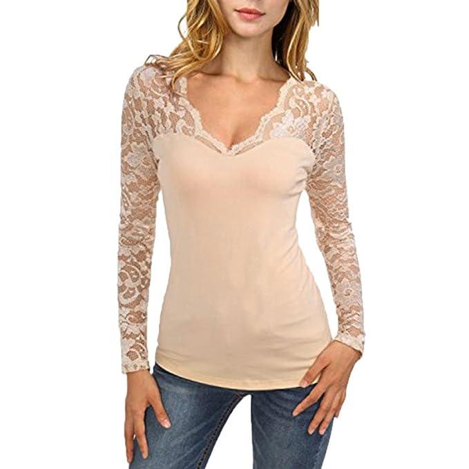 62b73d1693c6 Honestyi Damen blusen, Damen Solide Lange Ärmel elegant Spitze Nähen  V-Ausschnitt T-