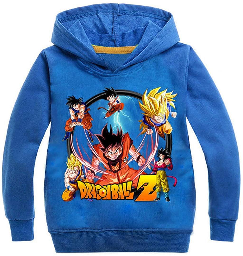 Silver Basic Sudadera con Capucha Unisex Anime Dragon Ball Z Son Goku Kakarotto Jumper para Ni/ños y Ni/ñas