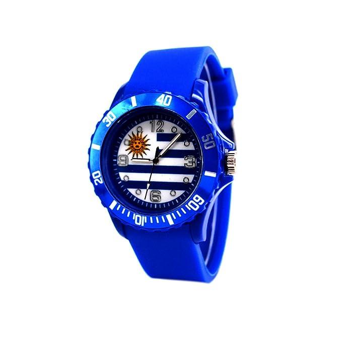 Reloj con la bandera de Uruguay con pulsera de Silicona