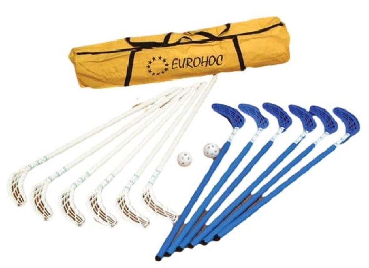 Eurohoc Club Senior Hallenhockey-Schläger, Puks, Bälle und Tasche, Komplett-Set Bä lle und Tasche