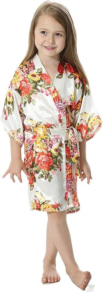 JOYTTON Girls Satin Floral Kimono Flower Girl Getting Ready Robe for Wedding