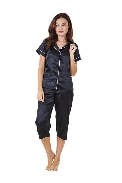 Conjunto de pijama para mujer - Manga corta - Pantalón de estilo pirata - Satinado -