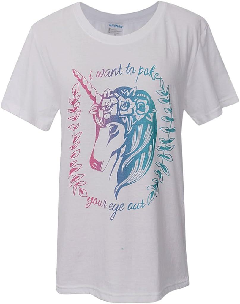 P Prettyia Mujeres Hombres Camiseta Blanca De Manga Corta Con Estampado De Animales De Unicornio Blanco XS S M L XL - Multicolor, XL: Amazon.es: Ropa y accesorios