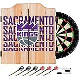 Trademark Gameroom NBA7010-SK3 NBA Dart Cabinet Set with Darts & Board - City - Sacramento Kings