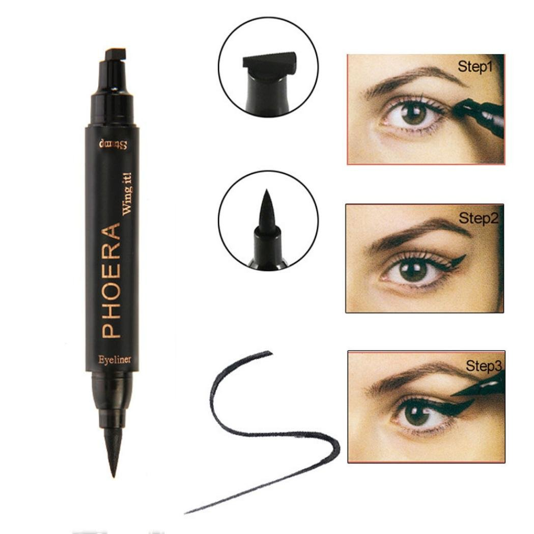 Enjocho Beauty Vamp Stamp Cat Eye Wing Waterproof Eyeliner Double Head 2 in 1 Makeup Tool (A)